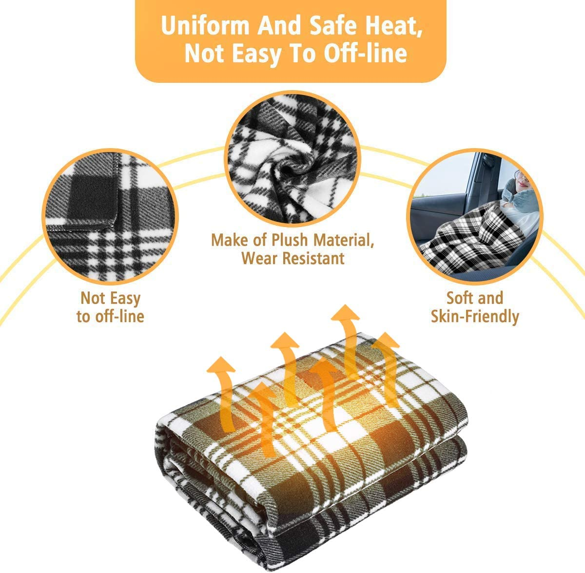 Tvird Electric Car Blanket- 12 Volt Heated Car Blanket with Temperature Controller,Travel Electric Blanket for Cars and RVs-Great for Cold Weather Tailgating 59x43 and Emergency Kits Black//White