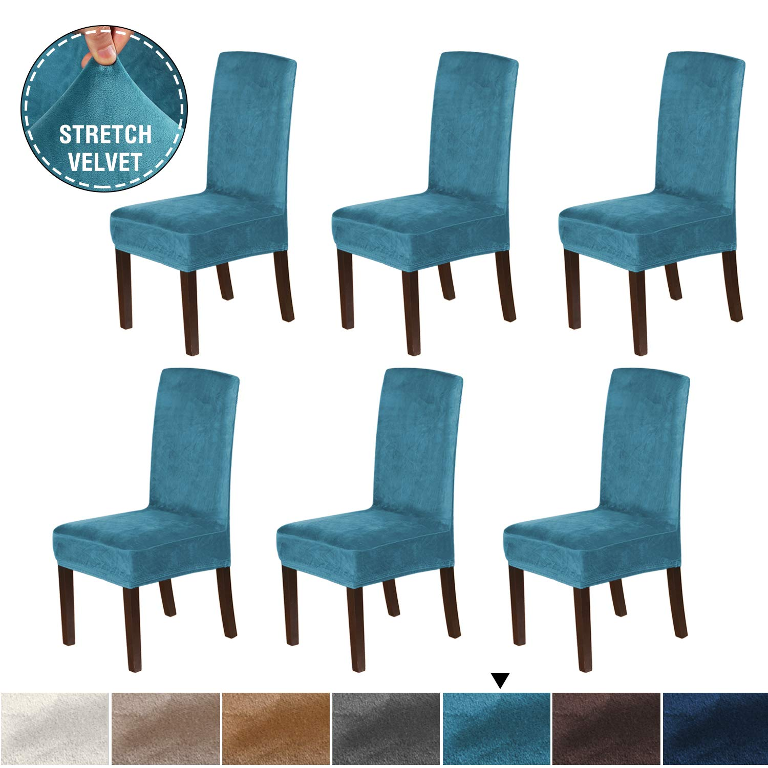 H.VERSAILTEX Rich Velvet Dining Chair Covers (Set of 6) Dining Chair Slipcover Super Stretch Stylish Furniture Cover/Protector, Modern Velvet Plush Slipcover High Chair Cover, Peacock Blue
