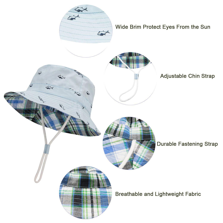 b2db4e5ee66ed4 Amazon.com: Durio Baby Sun Hat Summer Beach UPF 50+ Sun Protection Baby Boy  Hats Toddler Sun Hats Cap for Baby Girl Kid Bucket Hat: Clothing