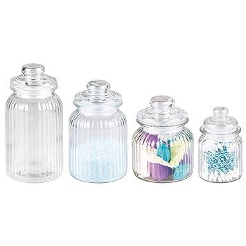 mDesign Juego de 4 frascos de vidrio – Tarros de cristal con tapa ideales para guardar