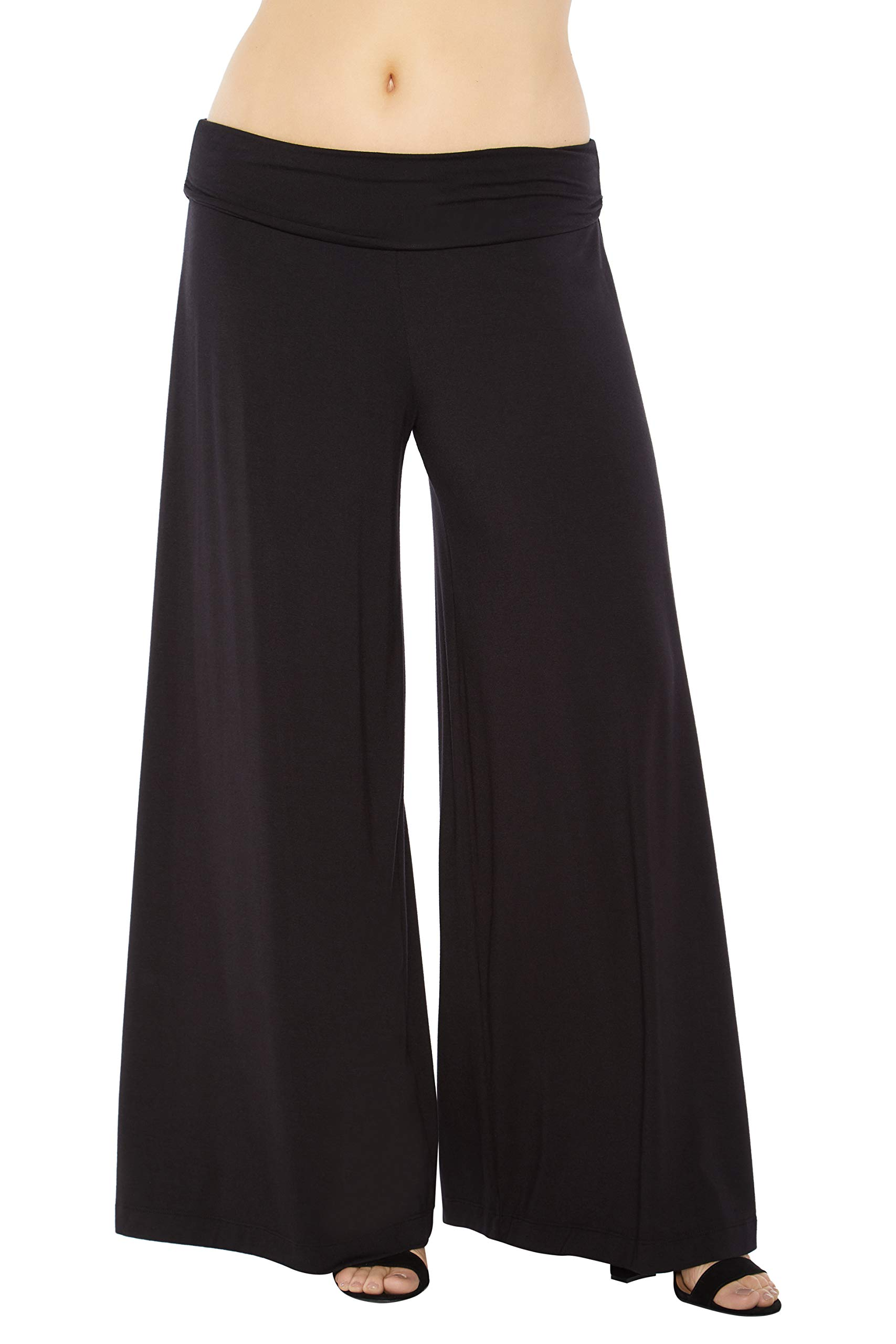 Rohb by Joyce Azria Harbor Wide Leg Ruched Waist Palazzo Pant (Black) Size L