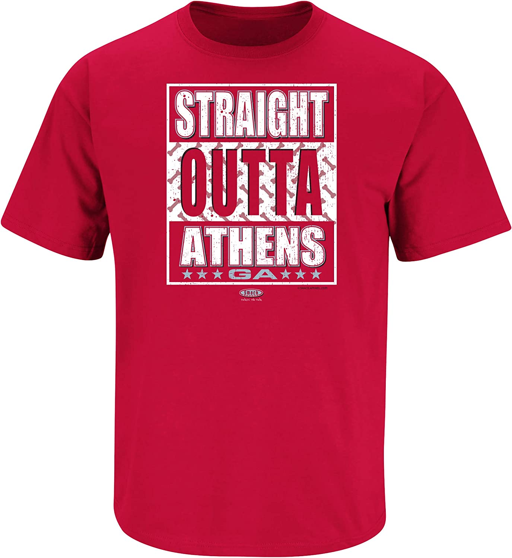 Red T-Shirt Sm-5X Straight Outta Athens Smack Apparel Georgia Football Fans