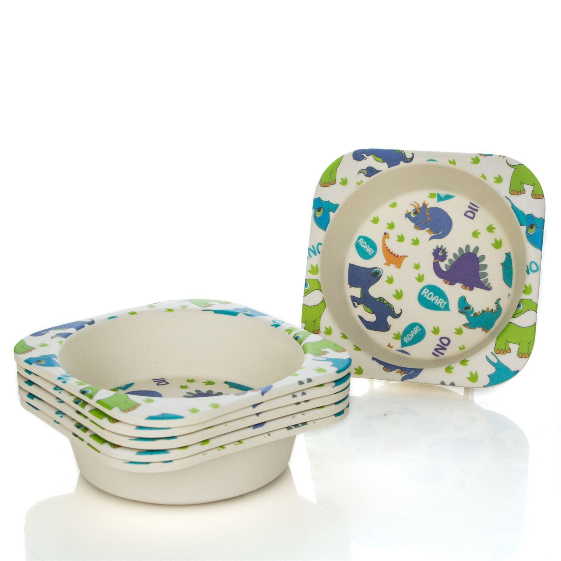 Tiny Dining Children's Bamboo Fibre Dining Bowl - Dinosaur - Pack of 6
