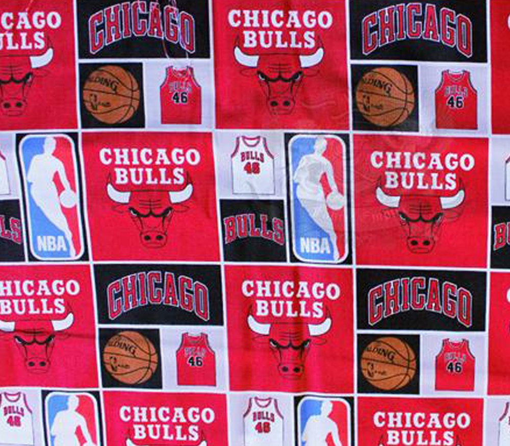 100/% Cotton Fabric Quilt Prints 02 Chicago Bulls Boxed Up s 54 Wide