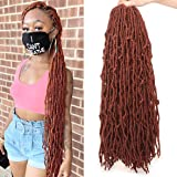 ZRQ 24 Inch New Faux Locs Crochet Braids Hair 6 Packs Pre-looped Copper Red Goddess Locs Curly Wavy Twist Braiding Hair Synth