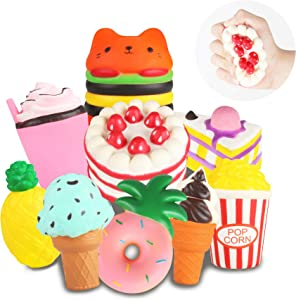 Slow Rising Jumbo Squishies Toys Set - 9 Pack Soft Kawaii Squishy Hamburger Popcorn Cake Ice Cream Donut Stress Relief Squeeze Toy for Boys and Girls