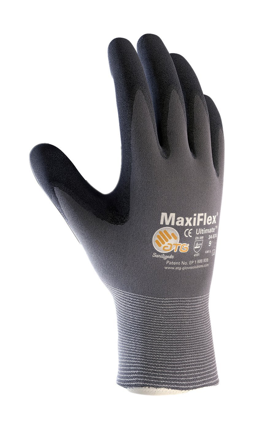 MaxiFlex Ultimate ATG 34-874 - MEDIUM 34-874/Seamless Knit Nylon/Lycra Glove with Nitrile Coated icro-Foam Grip on Palm and Fingers, Gray/Black (Pack of 12) by MaxiFlex Ultimate