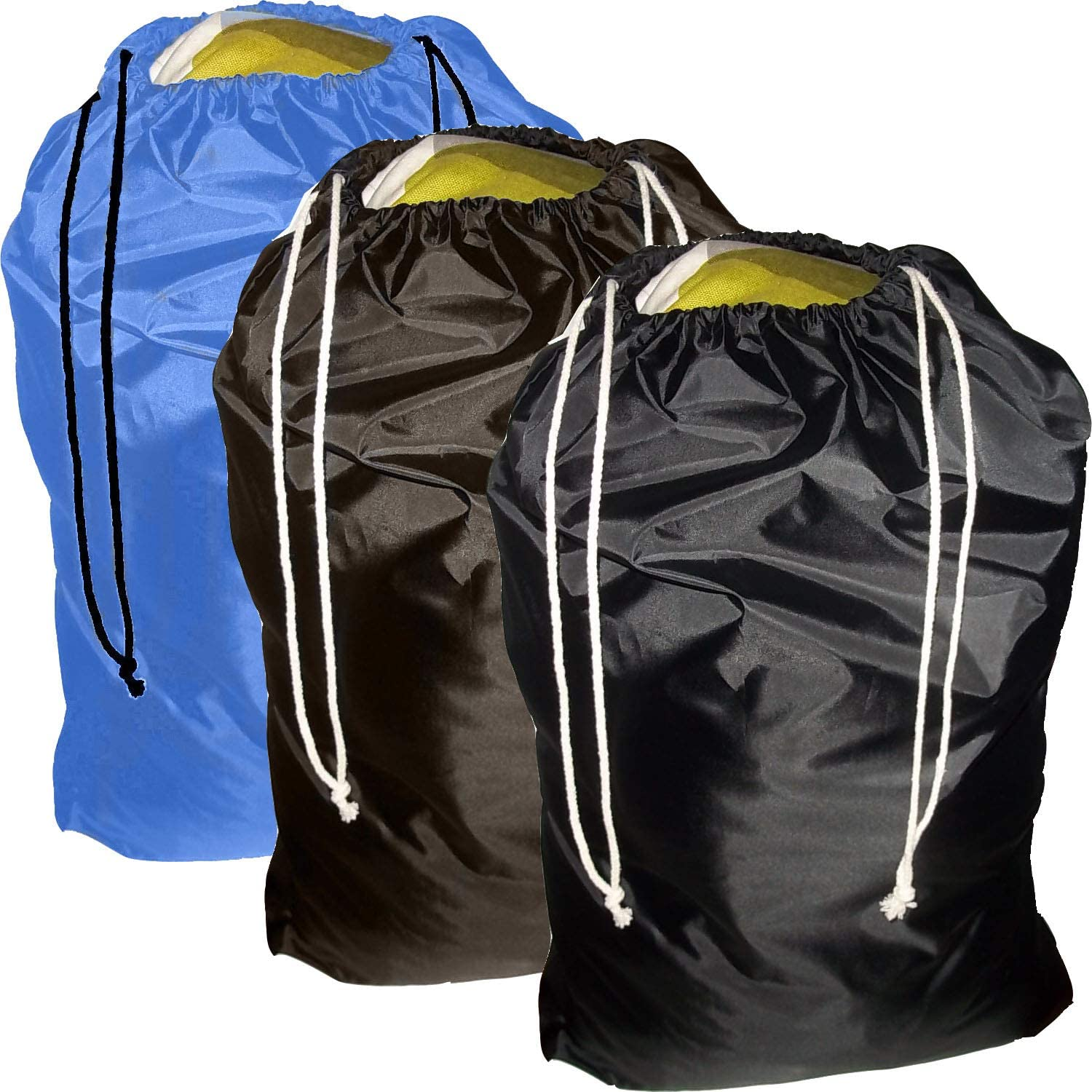 FashionBoutique Set of 3 Heavy Duty Jumbo Sized Nylon Laundry Bag (Black/Brown/Sky Blue)