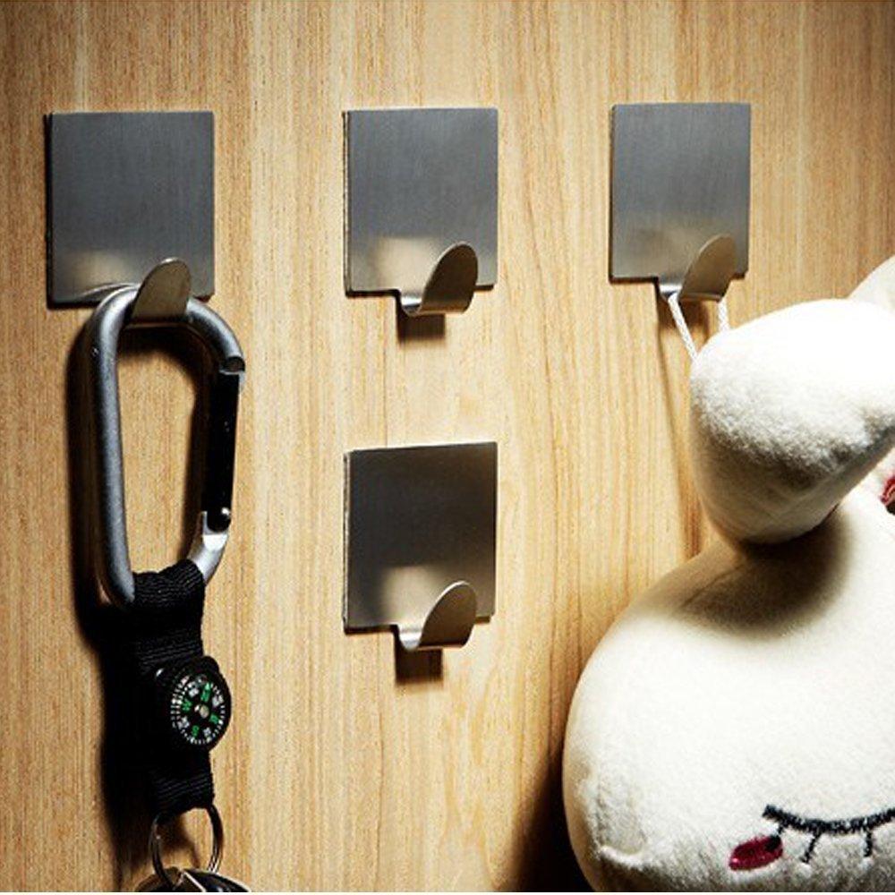 4 Pack Brushed Stainless Steel 3M Self Adhesive Bathroom Hooks Coat Robe Rack Kitchen Hooks for Utensils Towels Wall Mount
