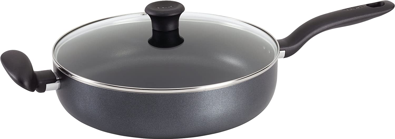 T-fal A82182 Initiatives Nonstick Inside and Out Dishwasher Safe Jumbo Cooker Cookware, 5-Quart, Gray, round handle