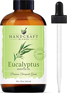 Handcraft Eucalyptus Essential Oil - 100 Percent Pure and Natural - Premium Therapeutic Grade with Premium Glass Dropper - Huge 4 oz