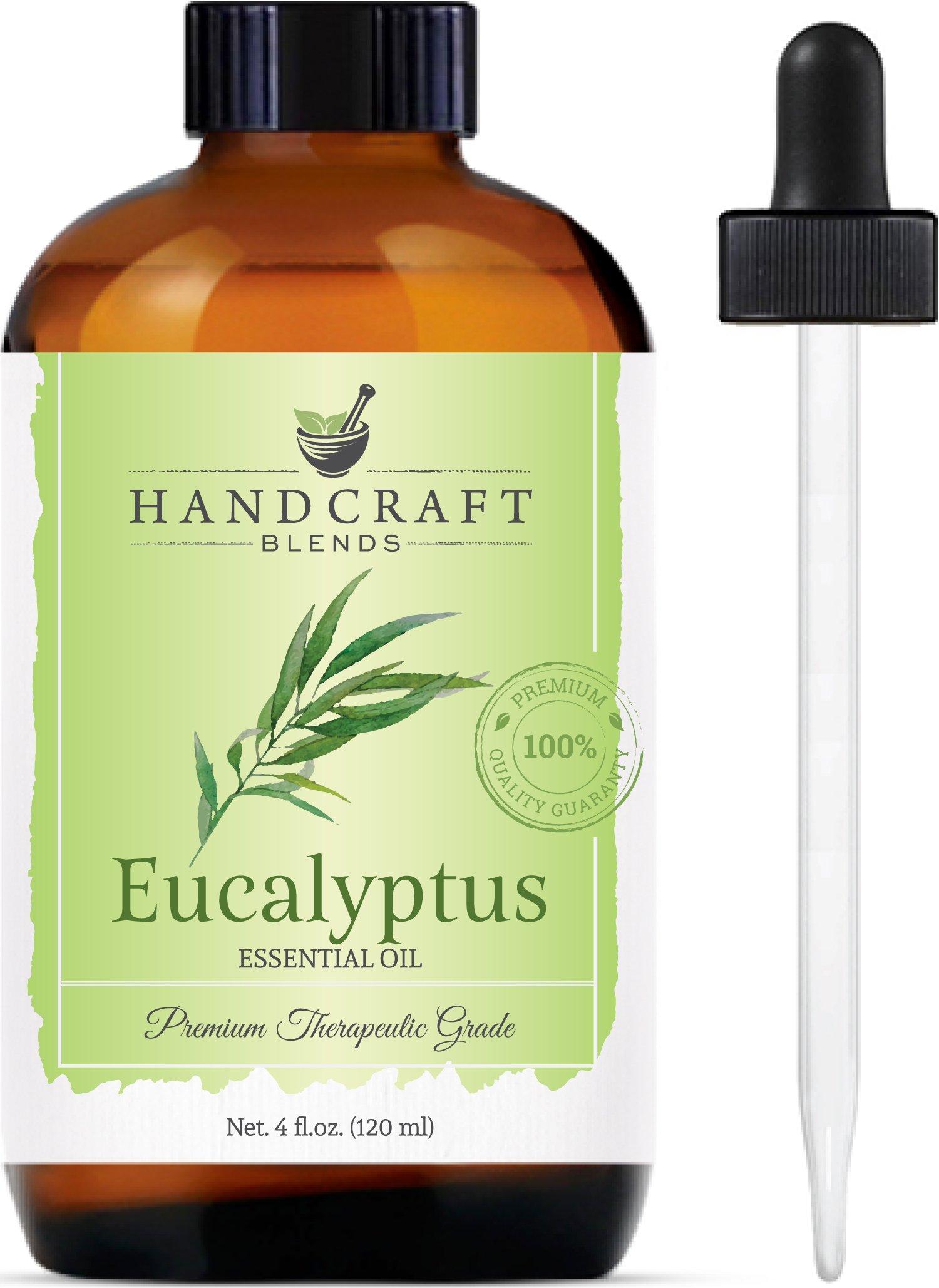 Handcraft Eucalyptus Essential Oil - Huge 4 OZ - 100% Pure & Natural – Premium Therapeutic Grade with Premium Glass Dropper