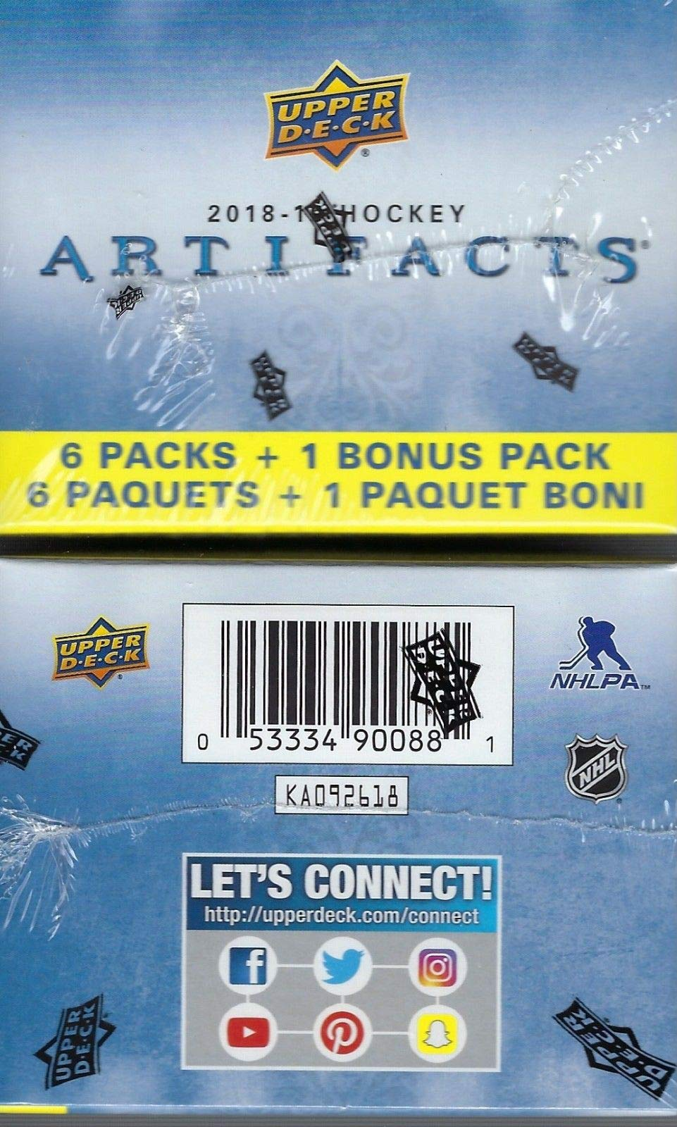 2018 2019 Upper Deck ARTIFACTS Hockey Series Unopened Blaster Box of Packs with Chance for Stars and Rookie Redemptions plus Possible Autographs and Divisional Artifacts Jersey Cards