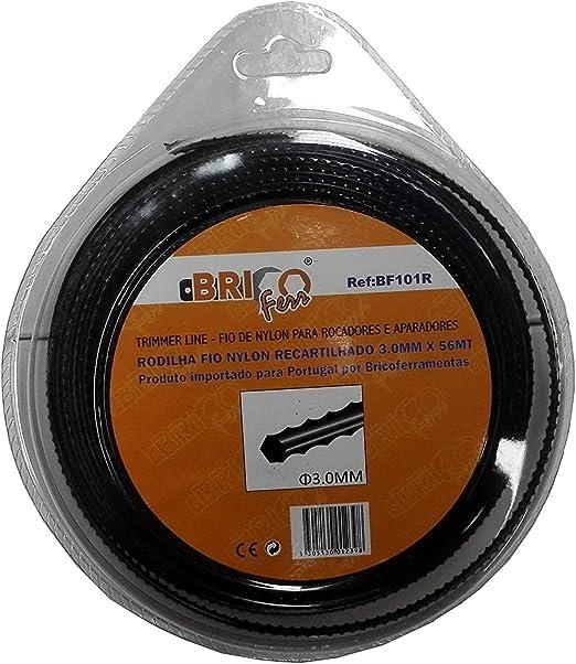 Bricoferr BF101R Hilo desbrozadora nylon perfil diente de sierra (3 mm x 56 metros): Amazon.es: Bricolaje y herramientas