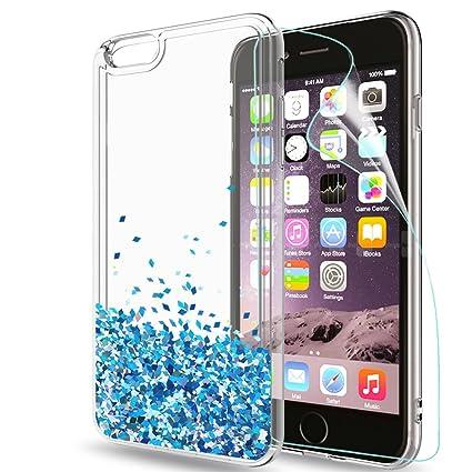 LeYi Hülle iPhone 6/iPhone 6S Glitzer Handyhülle mit HD Folie Schutzfolie,Cover TPU Bumper Silikon Treibsand Clear Schutzhüll