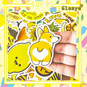50 Pcs VSCO Yellow Summer Sun Comic Cartoon Cute Cool Waterproof Stickers for Hydro Flask, Water Bottle, Laptop, MacBook Car Bike Bumper Skateboard Suitable for Adults,Kids,Girls,Teens,Women,Boys