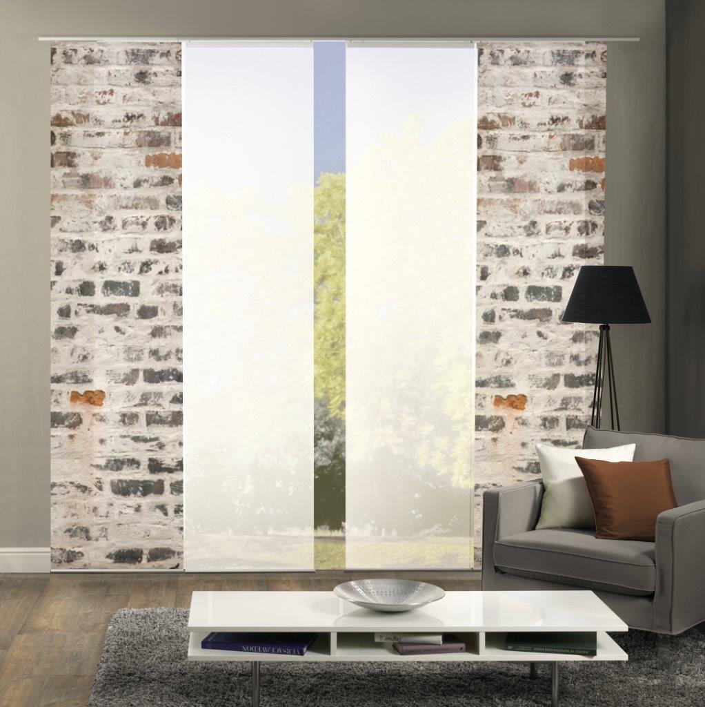 Home Fashion Set-Angebot Flächenvorhang Muro   wahlweise 3er-, 4er- oder 5er-Set bestehend aus Motiv- und Uni-Flächenvorhängen   Höhe 245 cm, Farbe  grau, Anzahl  (4)