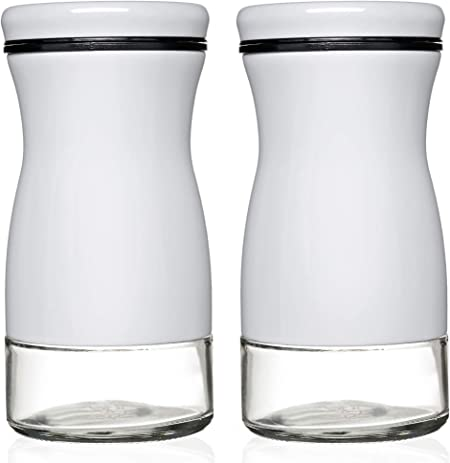 Black And White Chefvantage Salt And Pepper Shakers Set With Adjustable Pour Holes