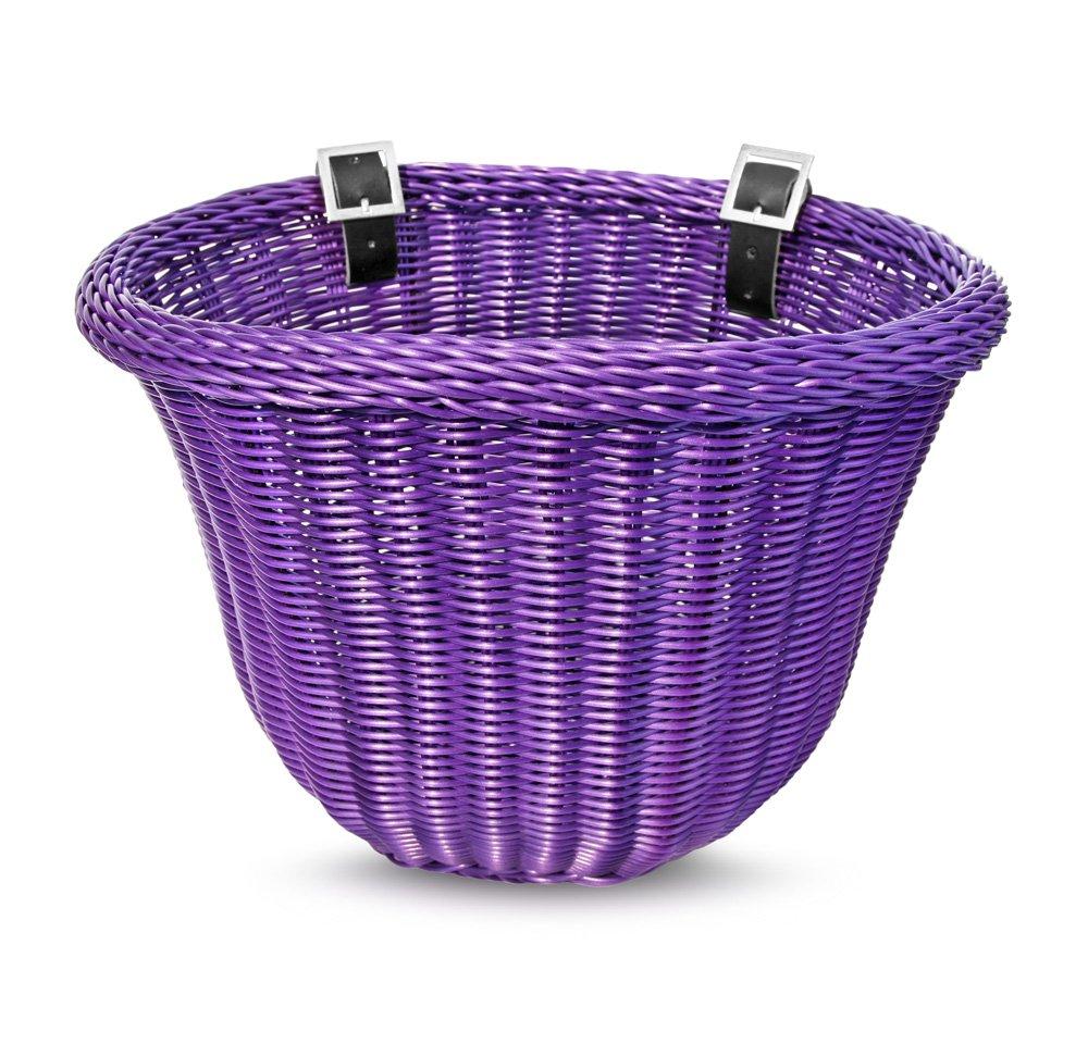 Colorbasket 01600 Front Handle Bar Adult Bike Basket, Water Resistant, Leather Straps, Purple