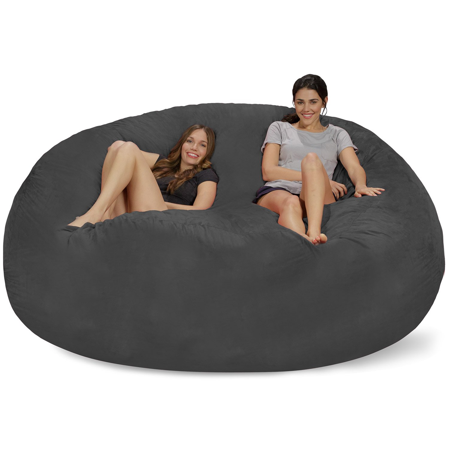 Chill Sack Bean Bag Chair: Giant 8' Memory Foam Furniture Bean Bag - Big Sofa with Soft Micro Fiber Cover - Charcoal