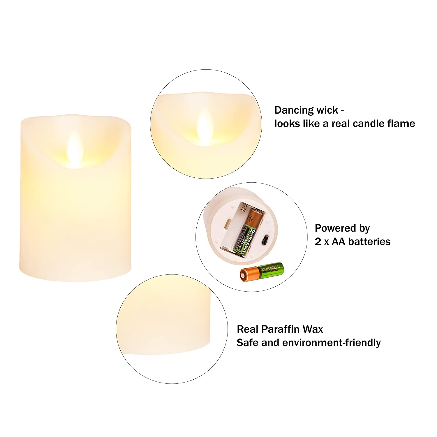 Flameless Candles Battery Operated Led Flickering Flame With Remote Candle Flamewax Candleled Electronic Circuit Timer Amazing Realistic Dancing Real Wax