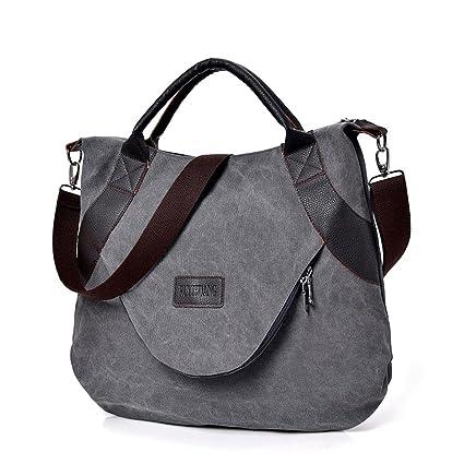 39fd234cc2f3 LLguz Fashion Women Vintage Canvas Zipper Shoulder Bags Handbag Crossbody  Bag School Bag Shoulder Messenger Bag