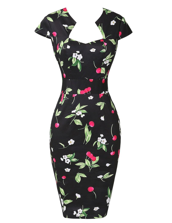 Women 1950s Vintage Dress Casual Floral//Polka Dot Bodycon Party Dress