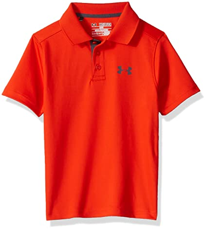 Under Armour Kids Boy s Performance Polo (Big Kids) Dark Orange Rhino Gray  Shirt bc55605d9