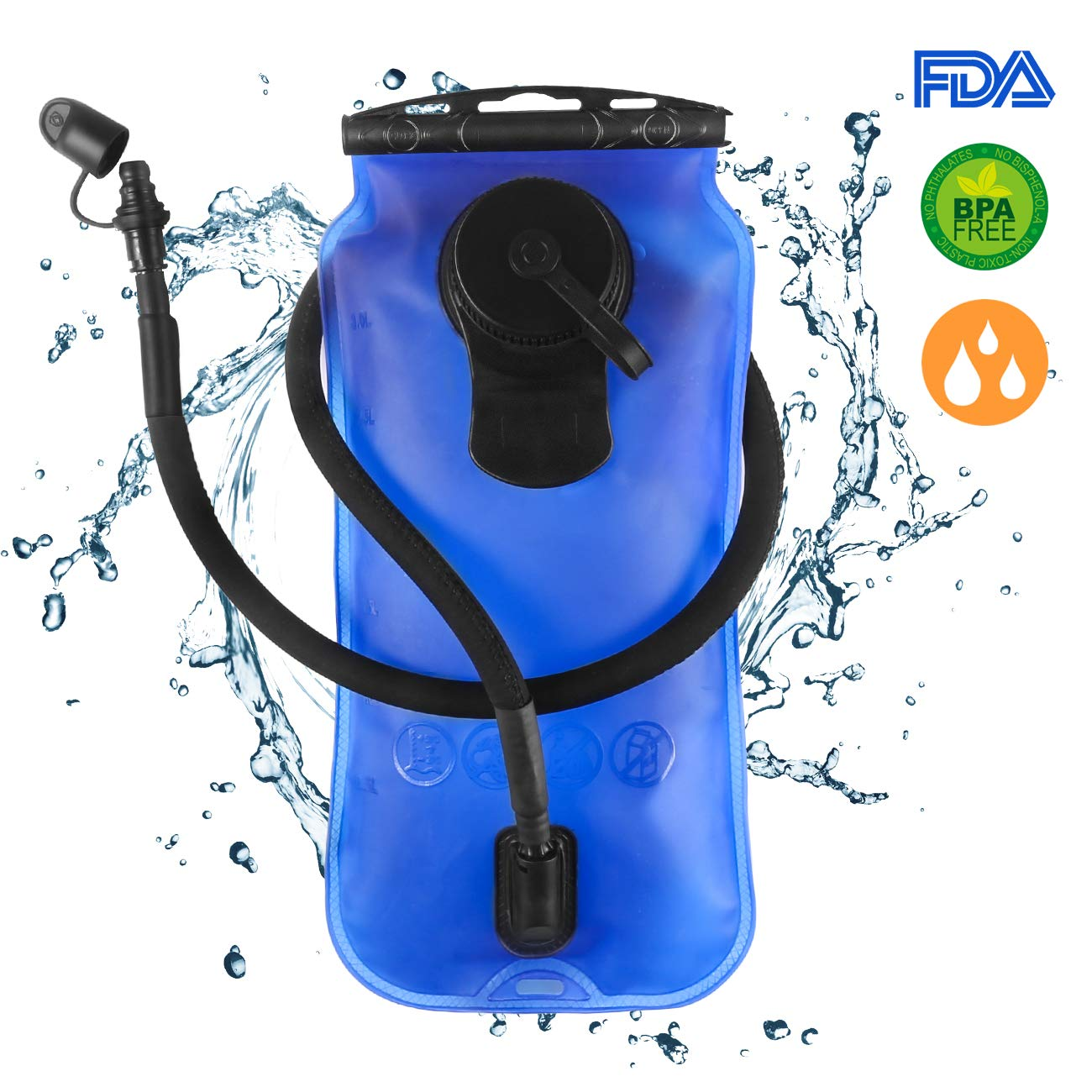 DAPRIL Hydration Bladder, Leak Proof Water Reservoir, Military Water Storage Bladder Bag, BPA Free Hydration Pack Replacement for Hiking Biking Climbing Cycling Running (3L Blue) (Advanced)