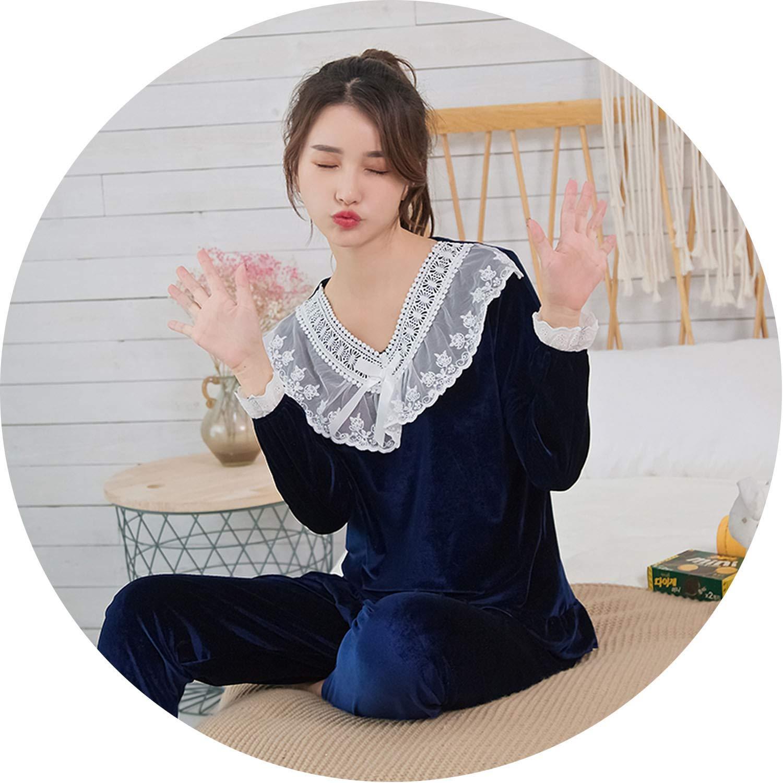 R H 811 shen lan Lucky Shop Women's gold Velvet Sets Pajamas LongSleeved Warm Sleepwear Pajamas Women Leisure Pajama