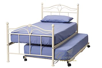 ROYALE COMFORT Exclusive Apollo Estilo francés Crema 3 en 1 Metal Invitados Cama Marcos Single 3 ft con Cama Nido y colchones Set bedsteads: Amazon.es: ...