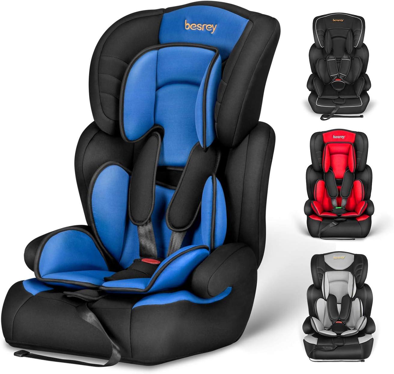Silla de coche, Besrey bebe silla coche Grupo 1/2/3 para bebe/niños desde 9 meses a 12 años, 5 puntos fijos, Reposacabezas ajuste de altura de 4 posiciones, Puede sentarse o sentarse(Azul de moda)