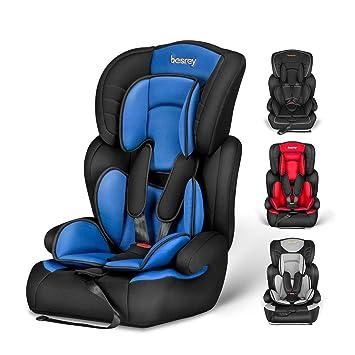 Silla de coche, Besrey bebe silla coche Grupo 1/2/3 para bebe/niños desde 9 meses a 12 años, 5 puntos fijos, Reposacabezas ajuste de altura de 4 ...