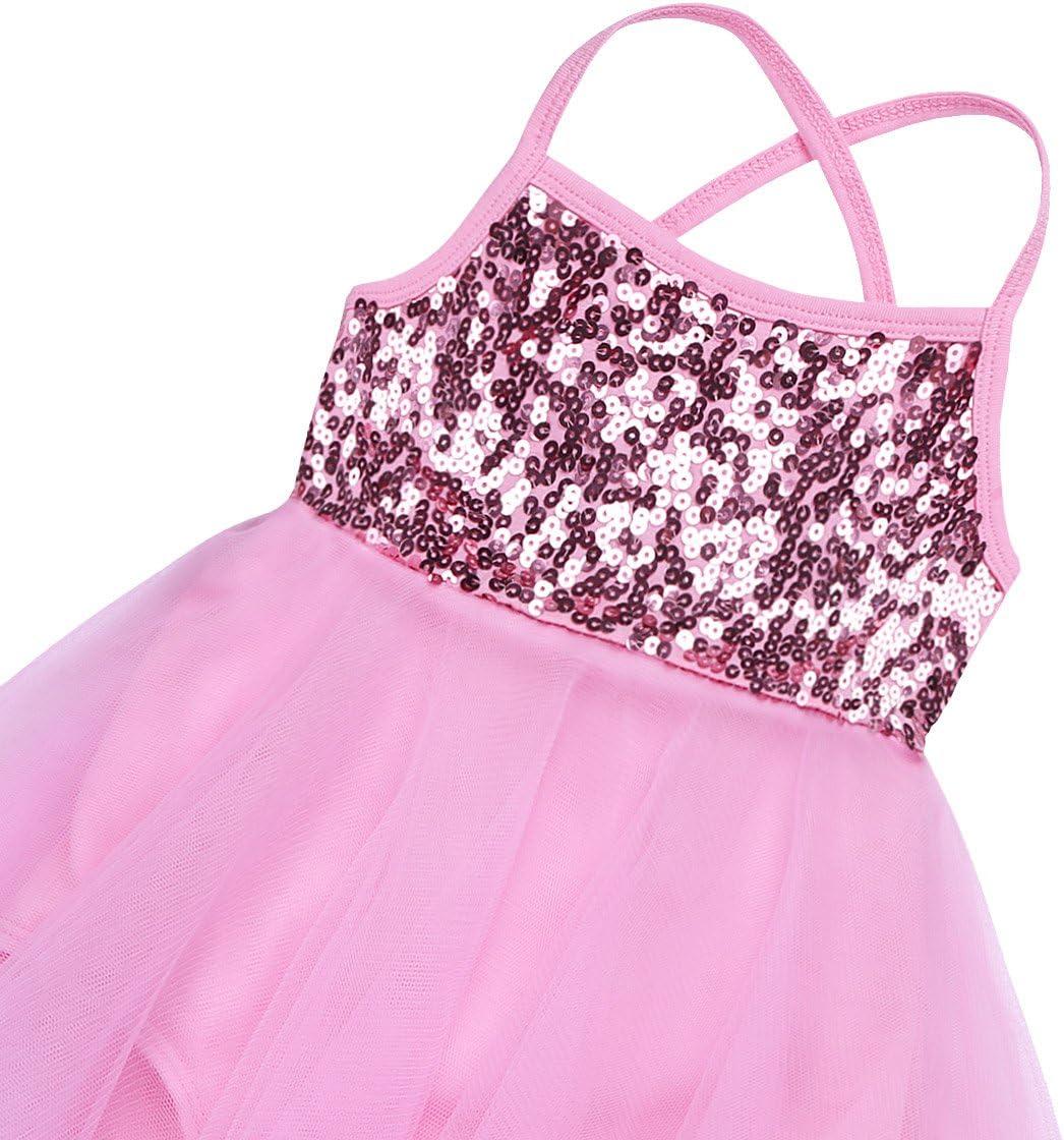 iEFiEL Ragazza Leotard Vestito da Balletto Body Dancewear Paillettes Ginnastica Danza Tutu Elegante Bambina Senza Manica Aderente Gonna Allenamento Ballo Stretto 3-12 Anni