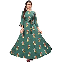 Dsk Studio Woman's Green Color Crepe 3/4 Flared Sleeve Floor Length Gown