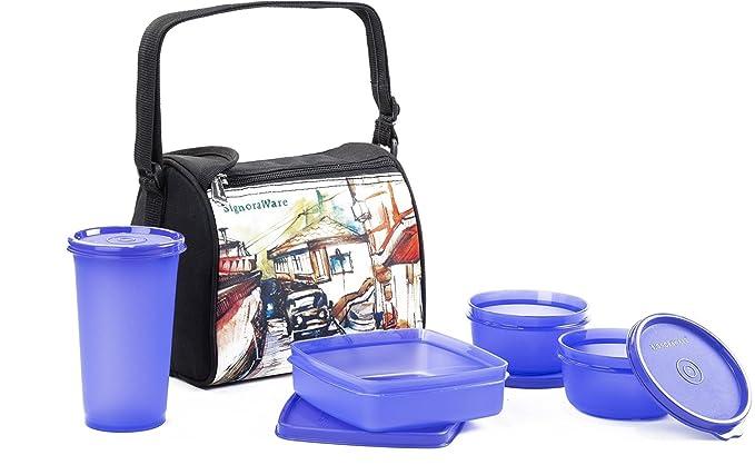 Signoraware Malgudi Plastic Lunch Box Set, 4 Pieces, Violet Kitchen Storage   Containers