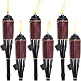 """Bamboo Torches; Decorative Torches; Fiberglass Wicks; Extra-Large (16oz) Metal Canisters for Longer Lasting Burn; Stands 59"""""""