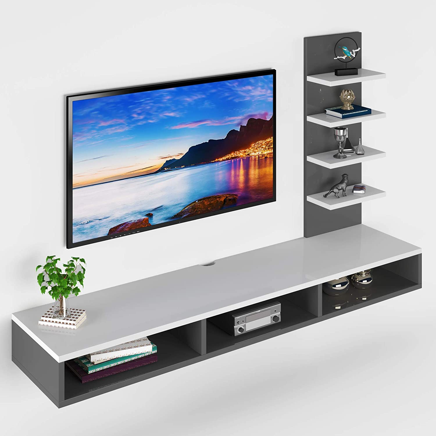 Decorvaiz Wooden Wall Mounted Tv Unit For Living Room Tv Cabinet For Living Room Tv Stand For Living Room Ideal For Tv Upto 42 White Grey Accessories Included Amazon In Home