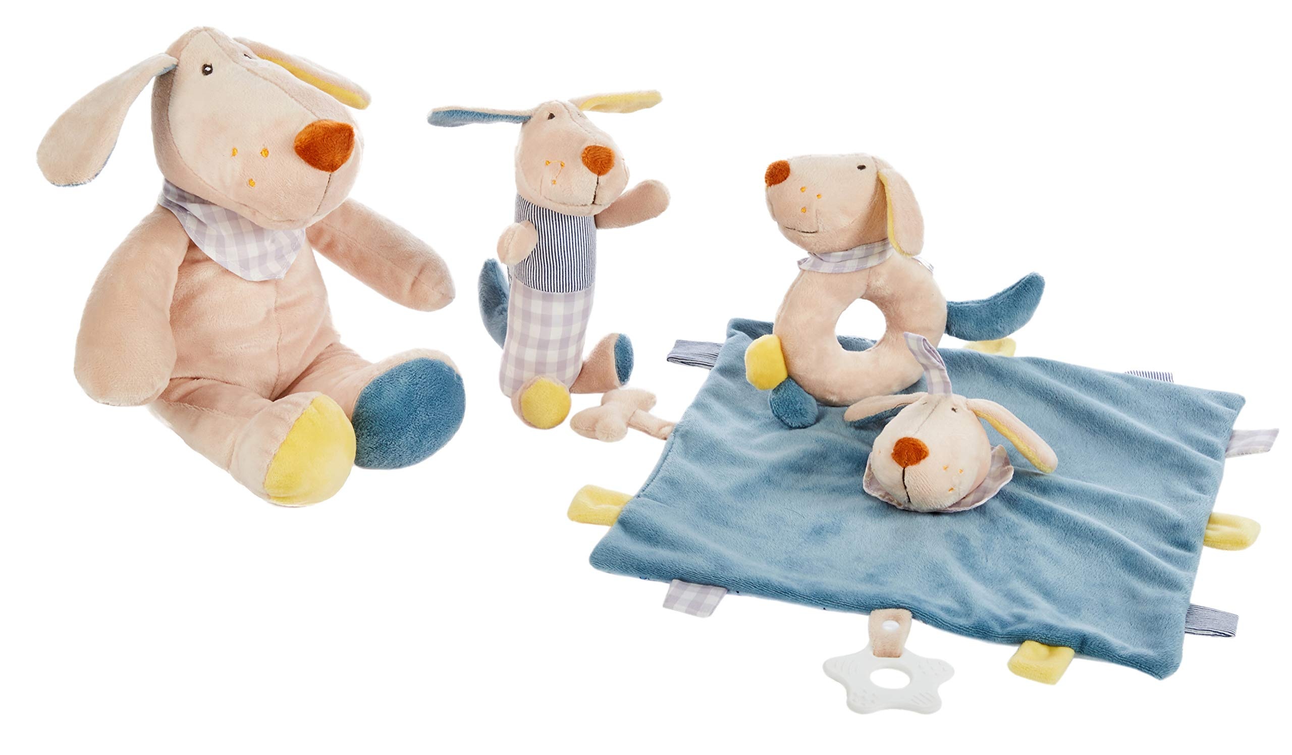 Baby Brielle 4 Piece Dog Plush Toy Security Lovies with Teethers and Rattles + Greeting Card Gift Set for Babies, Blue