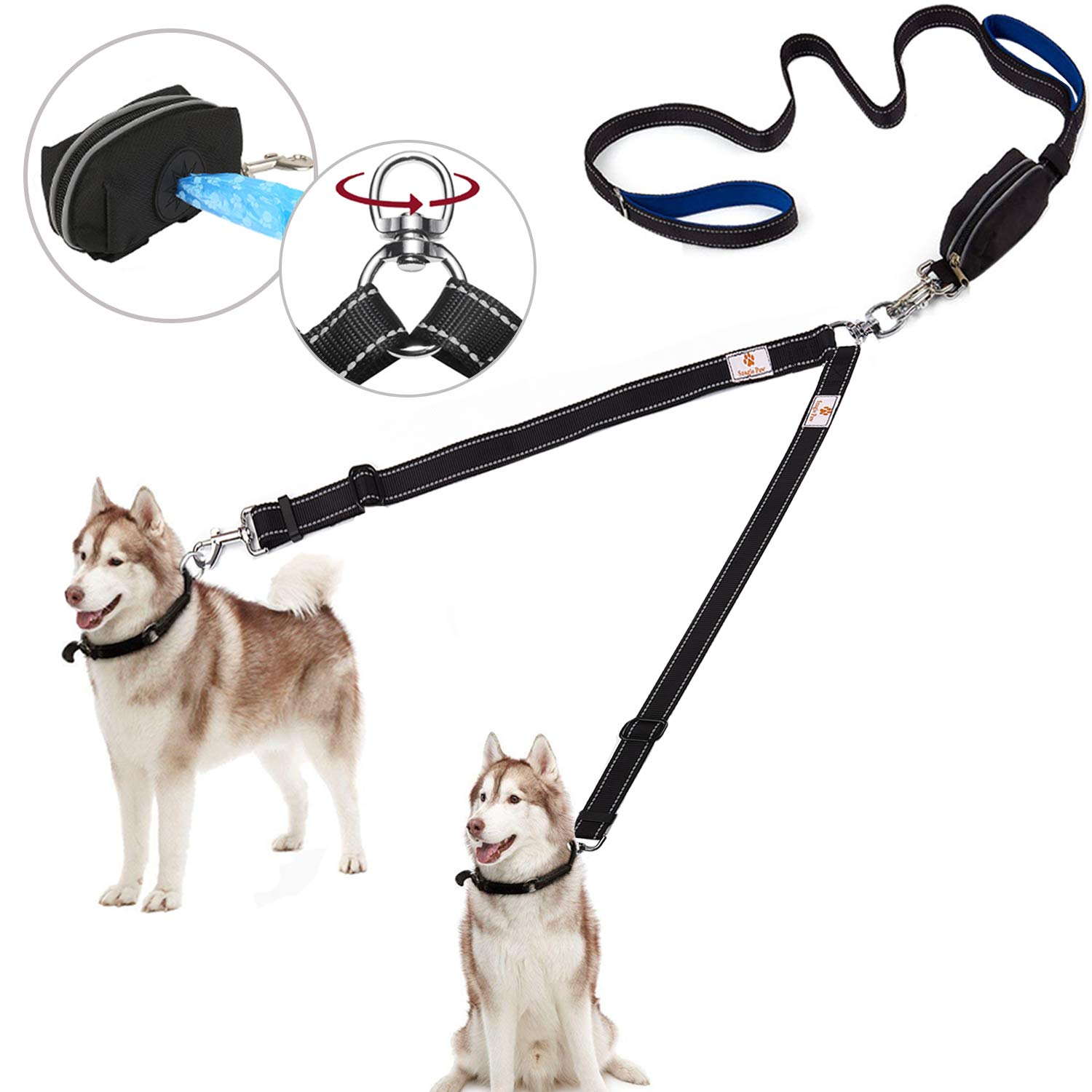 Snagle Paw Upgraded Double Dog Leash,2 Handle Dual Dog Leash for Large Dog Up to 180lbs,Tangle Free 2 Dog Walking Leash with Adjustable Reflective Lead, Bonus Pet Waste Bag Dispenser by Snagle Paw