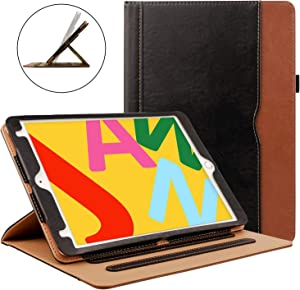 ZoneFoker New iPad Mini 5 7.9 inch 2019 Tablet Leather Case, Auto Sleep/Wake 360 Protection Multi-Angle Viewing Folio Stand Cases with Pencil Holder for iPad Mini5 5th Generation - Black/Brown