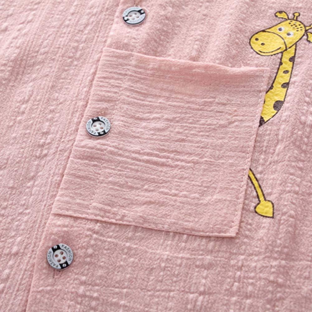BOBORA Ensemble B/éb/é Gar/çons /Ét/é T-Shirt Girafe /à Manches Courtes avec Short en Jean