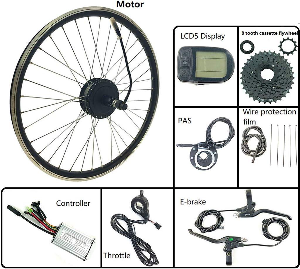 LiRongPing Bicicleta eléctrica E Bicicleta Kit de conversión de Cassette Trasero Cubo de Rueda Motor 24V 250W con KT LCD5 Display 16-28 Pulgadas 700,27.5inch LCD Sets