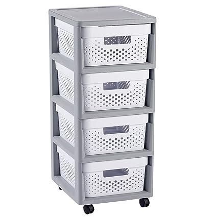 Curver - Mueble Organizador 4 Cajones Infinity con Ruedas - Cajones Extraíbles - Colores Gris / Blanco