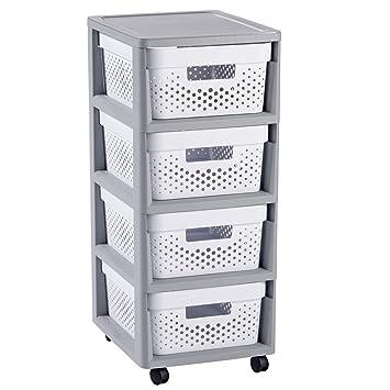 Curver - Mueble Organizador 4 Cajones Infinity con Ruedas - Cajones Extraíbles - Colores Gris / Blanco: Amazon.es: Hogar