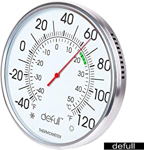 defull 8 inch Extra Large Dial Thermometer High Precision Indoor Outdoor Thermometer Aluminum Alloy Wall Thermometer Weather Thermometer with for Patio, Pool, Kitchen, Garden, Wall and Room Decorative