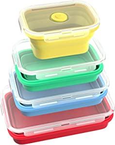 4 pcs (350ML, 500ML, 800ML, 1200ML) Silicone Collapsible Lunch Bento Box,Silicone Food Storage Containers with BPA Free Airtight Plastic Lids Microwave, Dishwasher and Freezer to Oven Safe (Mix) Mult