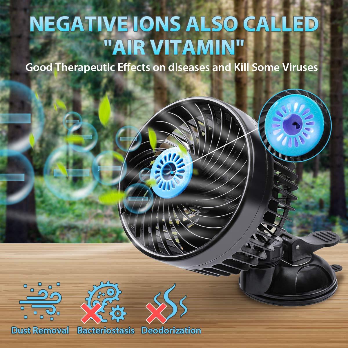 Testa Singola Tvird Ventilatore Automobile Auto,12V Accendisigari Auto Ventola 2 Velocit/à Regolabile e Rotazione Manuale a 360 Gradi Ventosa Potenziata a Basso Rumore Nero