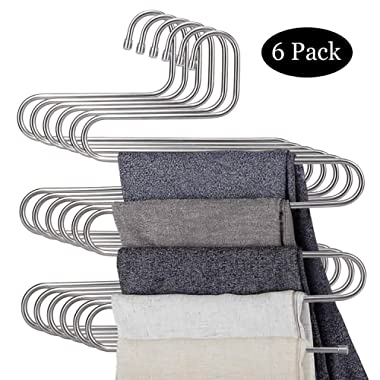 DOIOWN 6 Pack Pants Hangers S-Shape Stainless Steel Clothes Hangers Space Saving Hangers Closet Organizer for Pants Jeans Scarf(5 Layers,6Pcs)