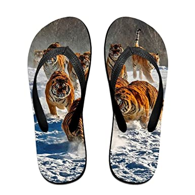 Couple Flip Flops Snow Tiger Print Chic Sandals Slipper Rubber Non-Slip Beach Thong Slippers